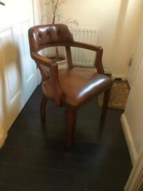 Leather Chesterfield captains chair, bargain free delivery