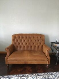 Laura Ashley Real Leather Tan Sofa