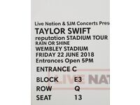 Taylor Swift Tickets x2 - £180 for both - Tonight - Wembley Arena- Great Seats - Pitch Seats