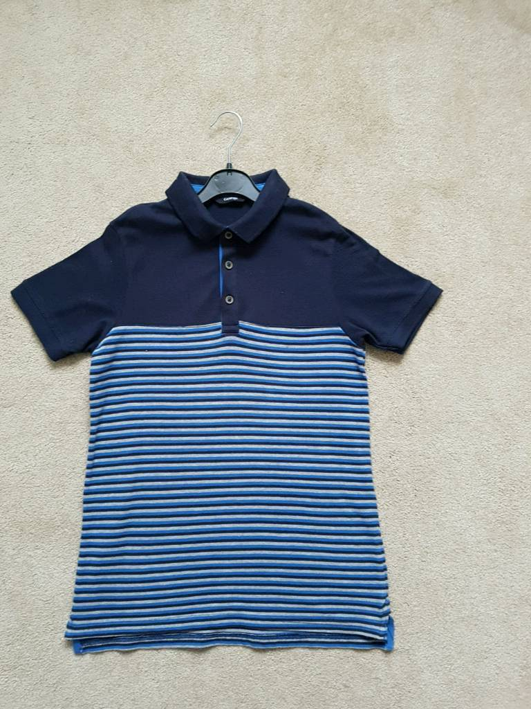 Boys Age 10 11yrs Navy Striped Polo Shirt In Bournemouth Dorset