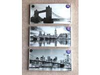 BRAND NEW SET OF 3 LUXURY BLACK & WHITE GLITTER PRINTS/PICTURES