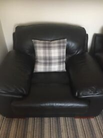 Black leather sofa ,2 chairs & footstool