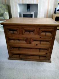 Solid Mexican pine 7 drawer chest