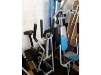 Programmable digital cross trainer & York multi gym