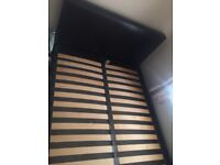 Black leather faux double bed frame excellent condition only 3 years old must go this week!!
