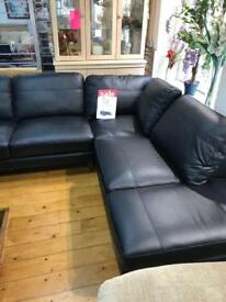 Roma Italian real leather corner sofa