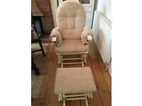 Wooden rocking nursing chair with footstool