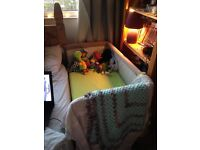 Chicco side crib. With added mattress. Great condition, barely used.