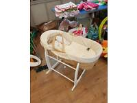 Moses basket, rocking stand and bedding