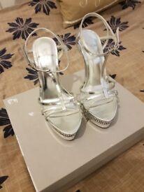 CARVELA by Kurt Geiger chrome jewel encrusted heels UK size:3