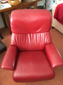 Large Cherry Red Leather Stressless Reclining Armchair