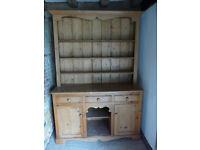 Pine Welsh Dresser, 3 shelves, 3 drawers, 2 cupboards GC