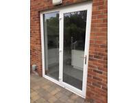 White PVC doubles glazed door & frame