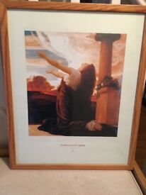 Leighton print in wooden frame