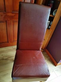 BROWN LEATHER HIGH BACK DINING CHAIRS (x6)