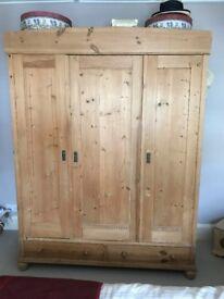 Antique pine wardrobe - 3 doors
