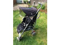 Maclaren techno XLR in black/champagne with footmuff, brand new rain cover and seat liner (unused)