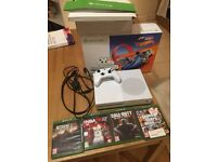 Immaculate condition Xbox One S with 4 games! 3 months' old. Comes with all wiring and box