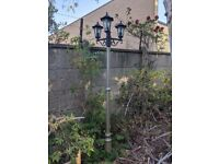 Triple Head Metal Garden Lamp post WITH Outdoor Cable
