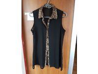 Brand New Women's Black See Through Leopard Collar Hem Blouse. New Look. Size 12