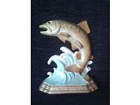 Vintage Handpainted Fish Cast Iron Doorstop.