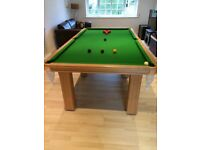 8' x 4' slate bed snooker table. Oak frame and complete with all equipment