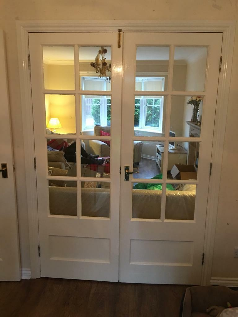 Dividing doors dining room front room glass wood French Room Divider