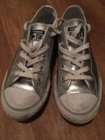 Silver girls converse trainers