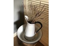 Vintage enamelware - pitcher and bowl