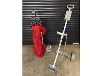 Dunlop Golf starter set including clubs, bag, and lightweight folding trolley.