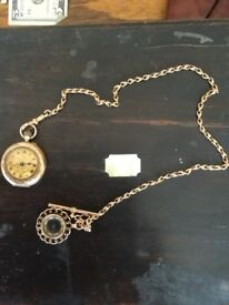 1912 9k Gold Pocket Watch & 9k Gold Fob chain and fob