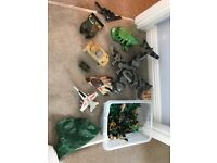 Toy soldiers and vehicles