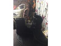 Women's black zip up boots size 5
