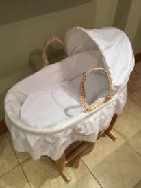 Clair de Lune Moses Basket, Rocking Stand, Hood, Bedding and Babies First Mattress (Crib & Bassinet)