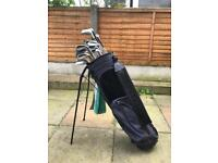 Golf bag and set of 15 clubs