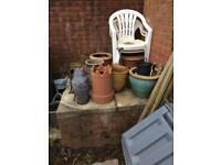 Collection of garden pots, gnomes etc