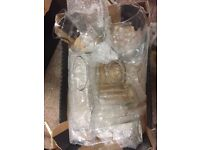 6 clear glass vases Center pieces wedding