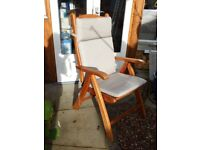 Teak reclining garden chairs with cushions