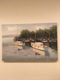 Large Boats Scene Canvas Picture