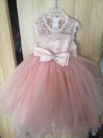 Stunning baby girls dusky pink bridesmaids dress 1-2 years