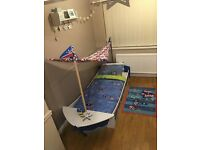 NEXT single bed frame £125. Includes bedding set, x2 fitted sheets, pirate rug