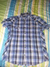 NEXT white blue shirt XL short sleeve check checkered pattern design casual formal
