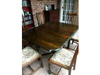 Barley twist dining table and chairs.