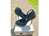 Teal-satin glitter upper ankle strap shoes (Brand new)