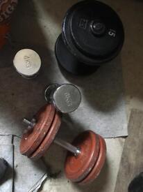 Assorted weights dumbbells