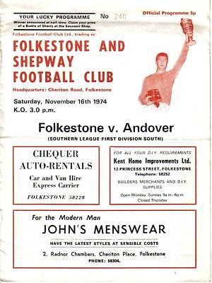 Football Programme>FOLKESTONE v ANDOVER Nov 1974