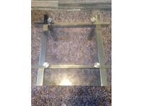 Square coffee/end table clear glass silver