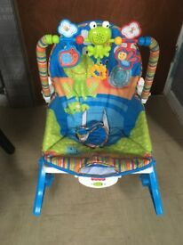 Pram, car seat, Moses basket and stand plus baby rocker seat