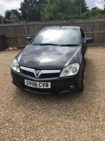 Black hard top convertible Vauxhall tigra