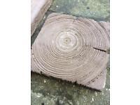 Timber/railway sleeper style paving